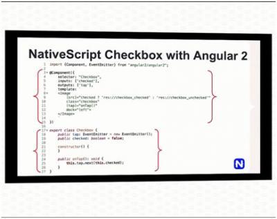 Contoh kode dari bagian component dan class Angular 2.