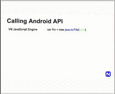Contoh kode pemanggilan file object pada level Android API melalui JavaScript